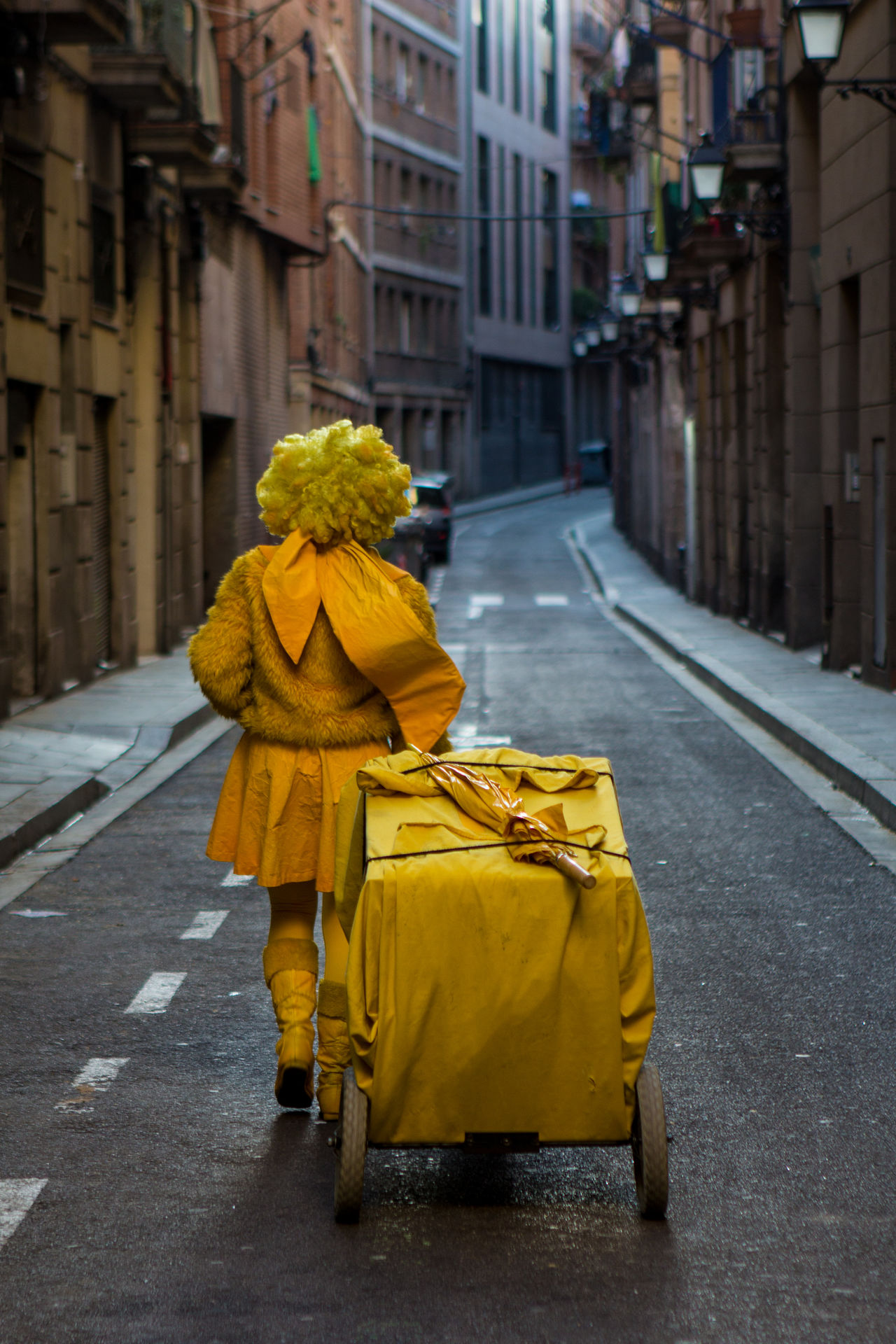Full length rear view person in costume walking with push cart in alley amidst buildings
