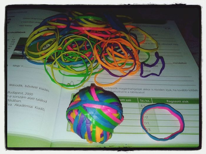 Bunch of rubber bands That's Me Excercising Hello World