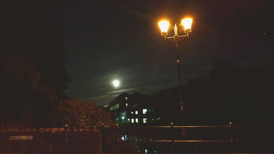 Getting Creative Streetlamps Bridge Mill Moon Nightlights Night Nightphotography Town Twinkling Lights