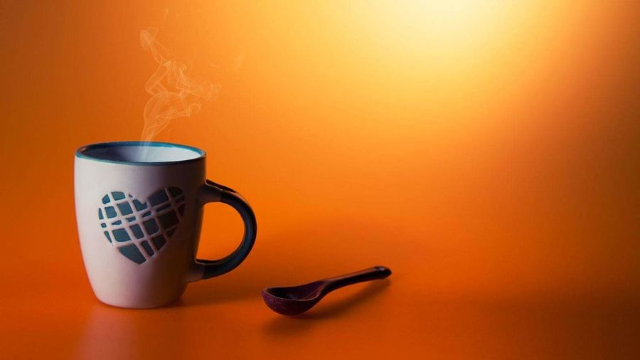 Coffee Cup Cup Colored Background Coffee - Drink Orange Background Mug Still Life StillLifePhotography Smallcup Coffee ☕ Coffee Time Love Heart ❤