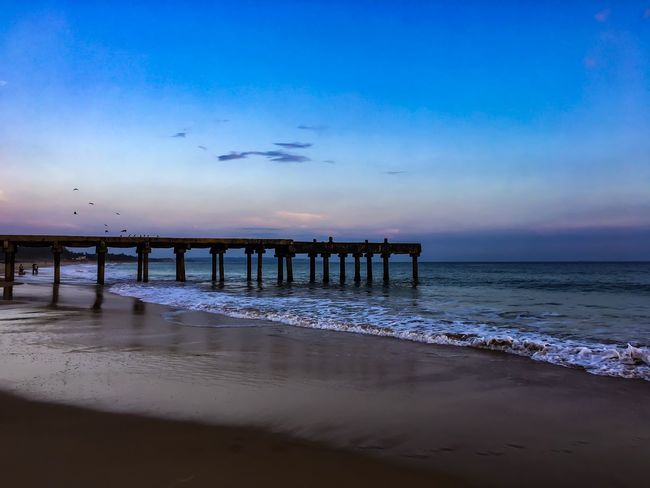 No scenery can replace the look of BEACH #India #Waves #bluesky #bridge #evening #seaside Beach Beauty In Nature Horizon Over Water Nature