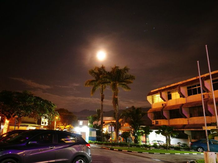 Moon At BCCM Menggatal Night Transportation City Travel Illuminated Tree Tourism Travel Destinations Palm Tree Sky Outdoors No People Architecture First Eyeem Photo