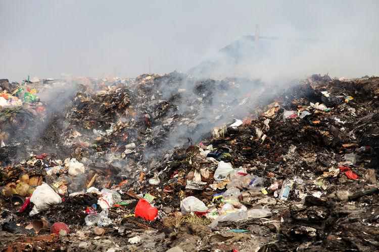 Garbage bin against sky