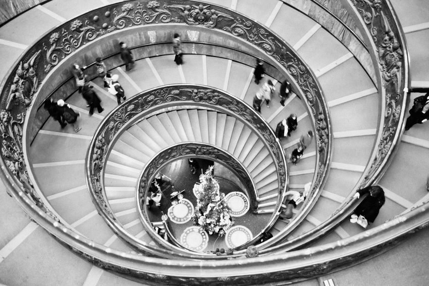 B&W Bramante spiral staircase in the Vatican Museums in the Vatican City State Architecture Art Baroque Black And White Bramante Bramante Staircase Built Structure People Rome Rome, Italy Round Spiral Spiral Staircase Spiral Stairs Staircase Steps Steps And Staircases Travel Vatican Vatican City Vatican Museum VaticanCity VaticanMuseum