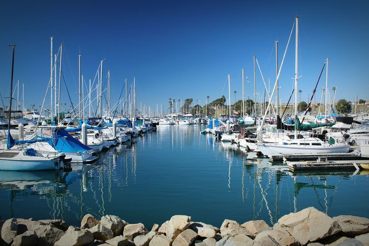 Nautical Vessel Moored Harbor Sea Water Marina Mode Of Transport Sailboat Transportation Sky Mast Reflection Yacht Travel Destinations No People Blue Outdoors Abundance Sailing Ship Large Group Of Objects Oceanside, Ca Afternoon Oceanside