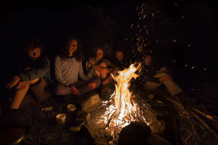 Connected By Travel Bonfire Burning Campfire Camping Flame Friendship Fun Leisure Activity Night Outdoors Togetherness