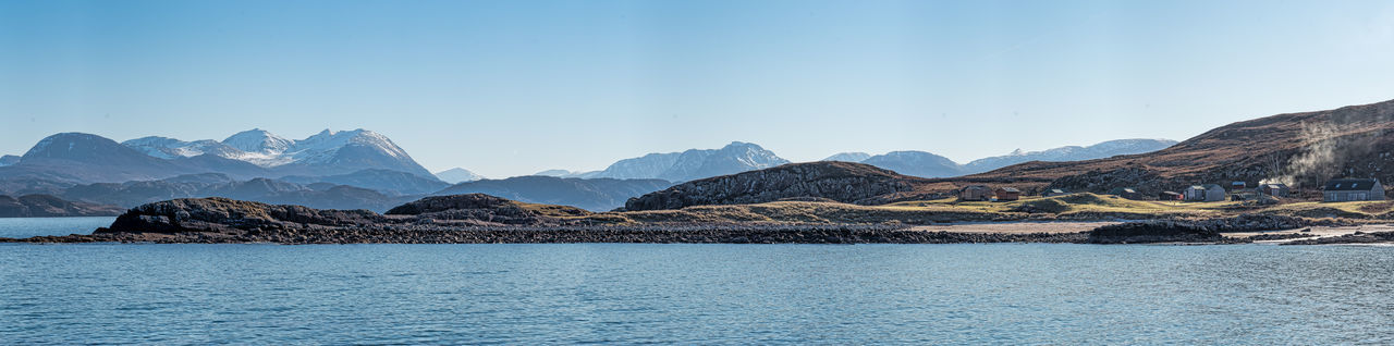 Photo Merge Photography Scotland 💕 Beauty In Nature Blue Day Lake Landscape Mountain Mountain Range Nature No People Outdoors Panoramic Rural Scene Scenics Sky Snow Tranquil Scene Tranquility Travel Destinations Vierw From Mellon Udrigle Beach (east) Water