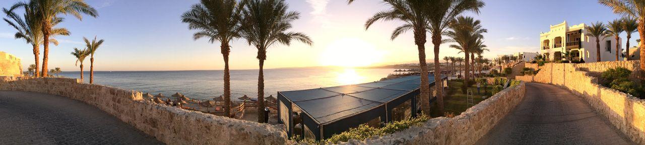 Panoramic View Of Beach At Sunset