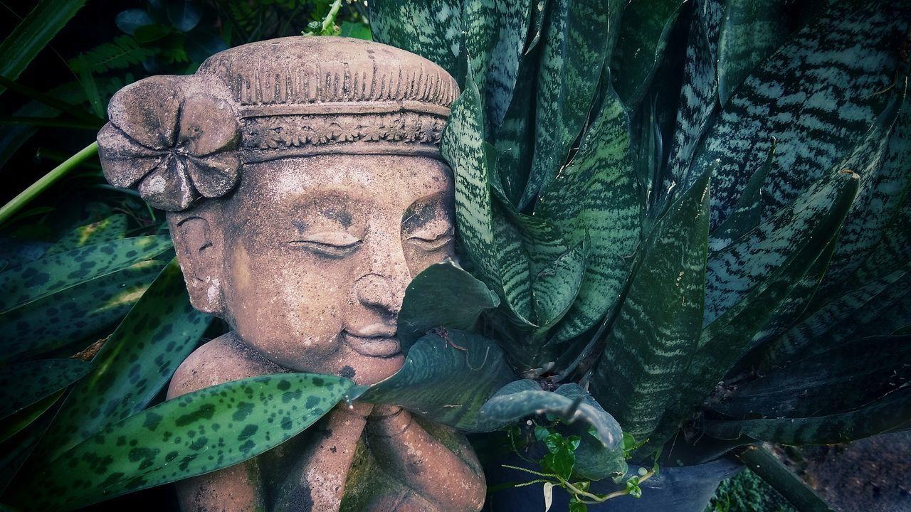 CLOSE-UP OF BUDDHA STATUE OUTDOORS