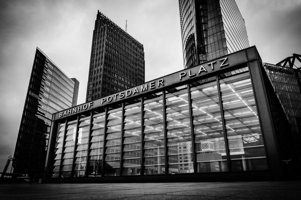 Berlin , Germany Blackandwhite Western Script Text Architecture Building Exterior Built Structure Sky Communication Low Angle View Day Guidance Skyscraper Modern Travel Destinations City Outdoors No People