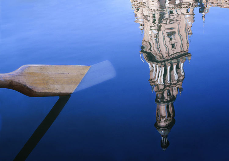 Abstract Blue Monochrome Oar Reflections Rowing Seville Tower Water Reflection