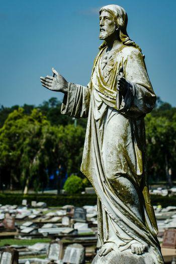Statue Sculpture Sky Peaceful Graveyard Beauty Cemetery Photography Nikon D5100  Jesus Religious Art