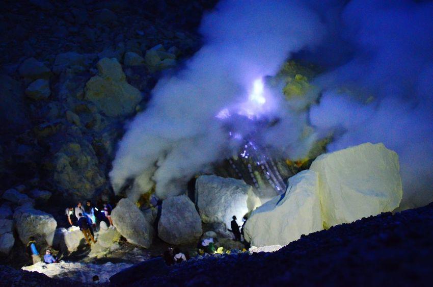 The blue flames inside Mount Ijen volcano Blue Flames Ijen Ijen Crater Kawah Ijen Crater Volcano East Java INDONESIA