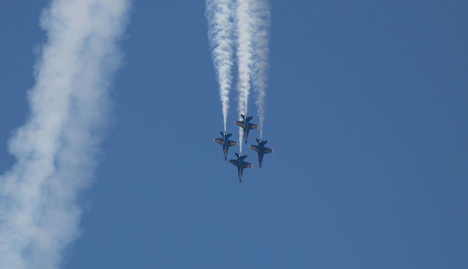 Navy Blue Angels Aerobatics Aerospace Industry Air Vehicle Airplane Airshow Blue Cloud - Sky Day Fighter Plane Flying Low Angle View Mid-air Mode Of Transportation Motion No People on the move Outdoors Plane Sky Smoke - Physical Structure Speed Transportation Vapor Trail