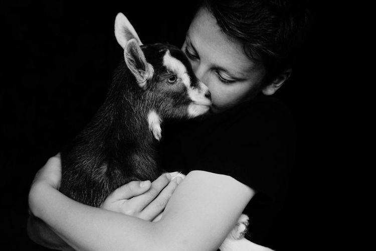 Close-up of boy embracing kid goat