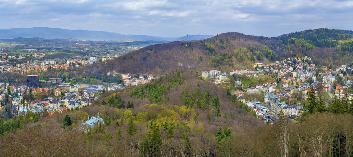 Panoramic view of karlovy vary from diana observation tower on hill, czech republic