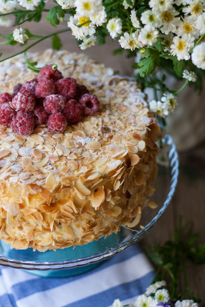 Almond cake with raspberries Abundance Almond Backgrounds Cake Cake♥ Close-up Detail Focus On Foreground Food Food And Drink Freshness Fruit Full Frame Healthy Eating Healthy Lifestyle Indulgence Large Group Of Objects No People Raspberry Raspberry Pi Selective Focus Still Life Temptation Variation