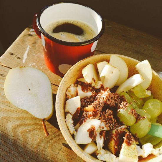 Joghurt, pear, grapes, mais waffle Yoghurt Pear Grape Linum Linum Seeds Seed Mug Red Dots Coffee Healthy Eating Grapes Breakfast