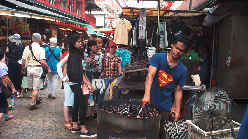 Candid City Street Life Streetphotography Market Stall ASIA Superman