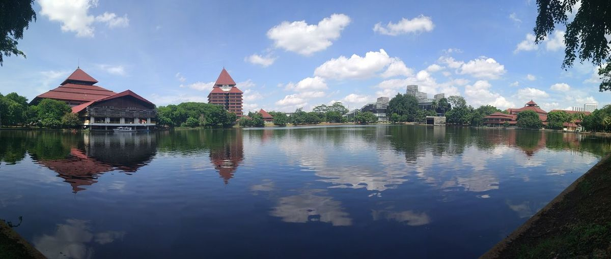 Daylight at University of Indonesia. Panorama Panoramic Panoramic View Architecture Blue Sky Building Built Structure Cloud - Sky Lake Landscape Nature No People Original Original Photography Outdoors Panoramic Landscape Panoramic Photography Reflection Reflections In The Water Sky Tree Water Waterfront Xiaomi Xiaomiphotography EyeEmNewHere