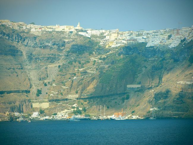 Steep Cliff Cliffs Steep Cliff Caldera Volcanoes Port Small Port Ships Boats Sailboats Village Houses On A Boat Summer Memories 🌄 Summer Views Greek Islands No People Santorini Island Landscapes With WhiteWall Landscapes