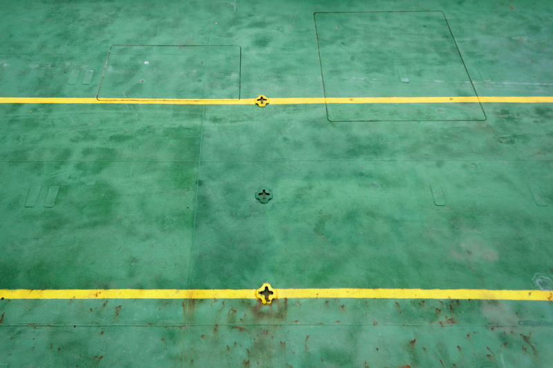 High angle view of floor and lines