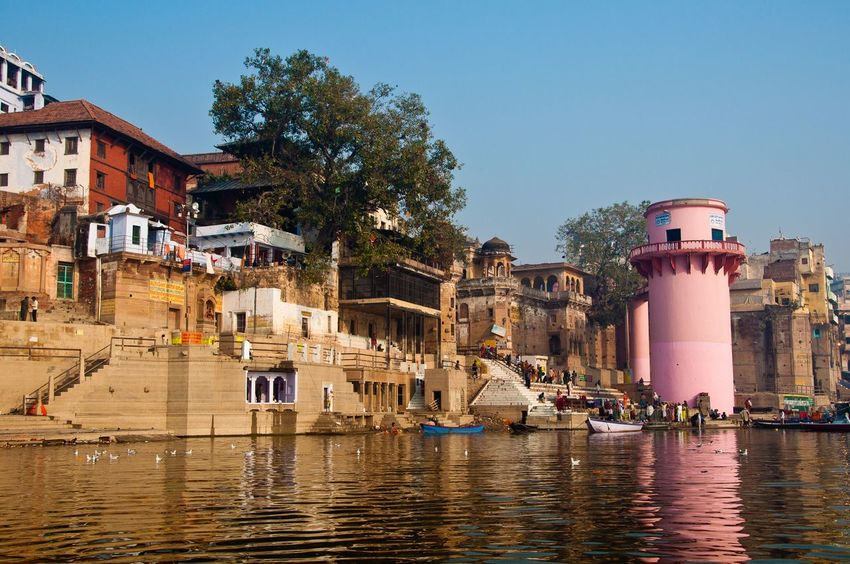 Architecture Built Structure Building Exterior Water Outdoors Travel Destinations Clear Sky Tree Day Sky No People Nautical Vessel ganges Varanasi India