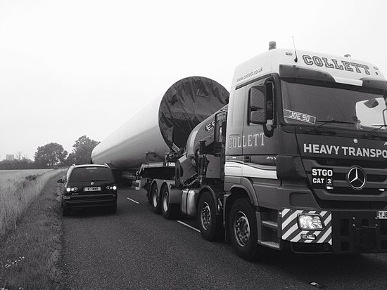 Blackandwhite Industry Construction Vehicles Lorry Windfarm Greenenergy Smooth Lines Rainy Days Randomphoto
