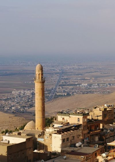 Minaret Mosque Mardin Turkey Cityscape City Tower Sky Architecture Building Exterior Historic Place Of Worship