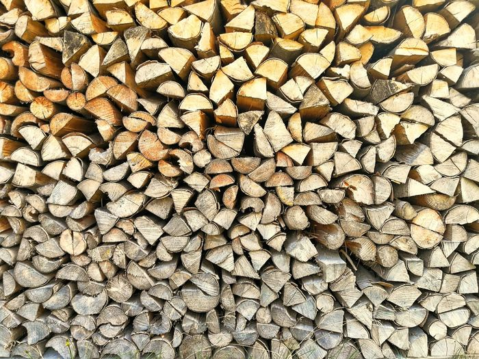 Wooden wall Forestry Industry Backgrounds Full Frame Stack Textured  Heap Log Firewood Fossil Fuel