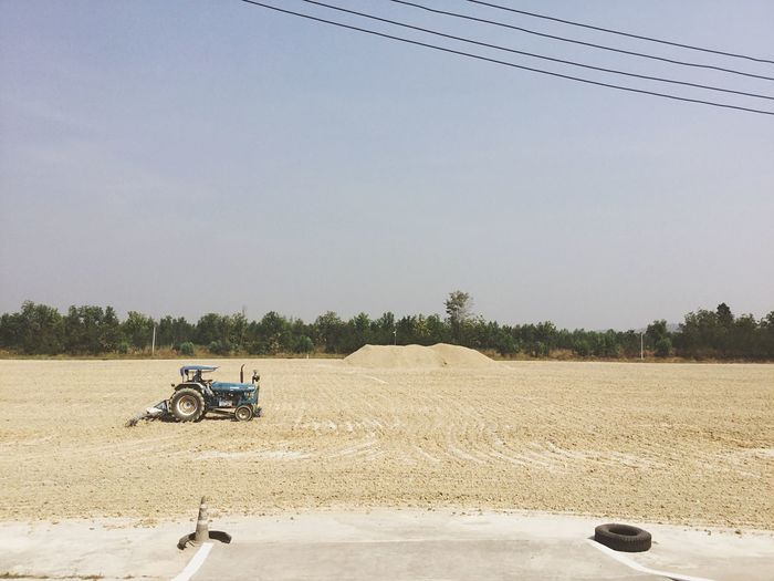on floor Farmer Trade Plowed Land Plowing Plow Harrows Floor Thailand Cassava Ship Cassava Agricultural Land Agricultural Field Agriculture Dry Land Sunlight Tractor Outdoors Riding Sitting Agricultural Machinery