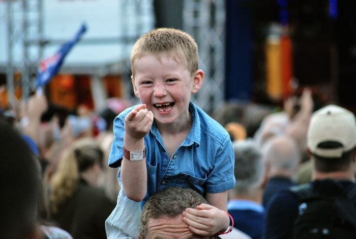 Happy kid at Midnight Oil gig Incidental People Boys Real People Childhood Focus On Foreground One Person Looking At Camera Leisure Activity Midnight Oil Midnightoil Rock Music Arts Culture And Entertainment Music Concert Rock Group Togetherness Show Rock'n'Roll Playing Happiness Portrait Day Smiling Sweden Let's Go. Together. Sommergefühle Connected By Travel Inner Power The Portraitist - 2018 EyeEm Awards The Street Photographer - 2018 EyeEm Awards The Photojournalist - 2018 EyeEm Awards The Traveler - 2018 EyeEm Awards Summer In The City
