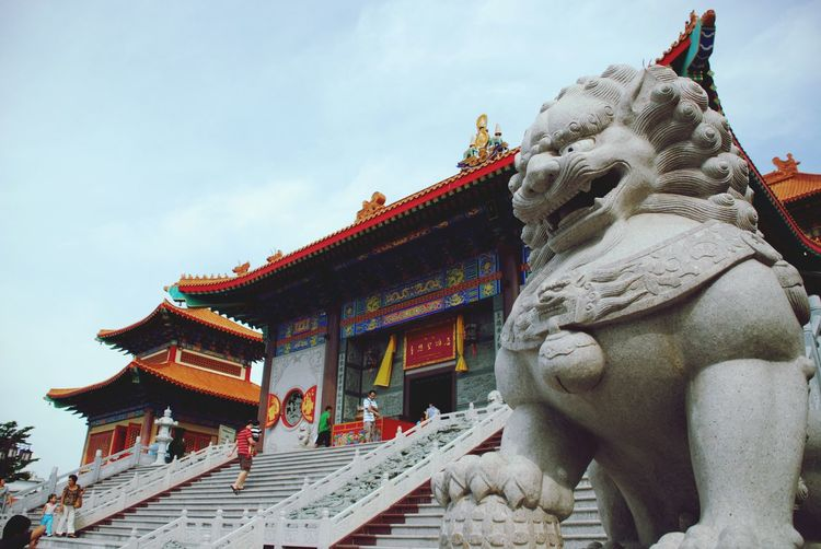 Lion Statue at Chinese Temple .