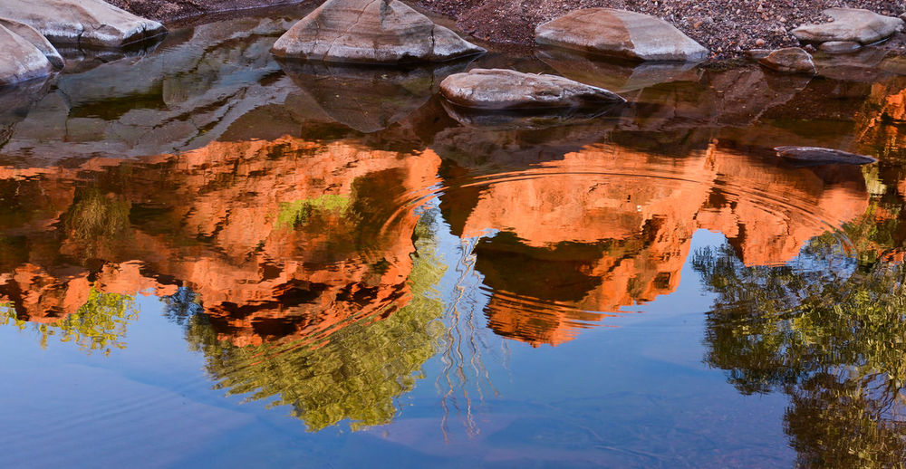 Reflection of rock formation in water