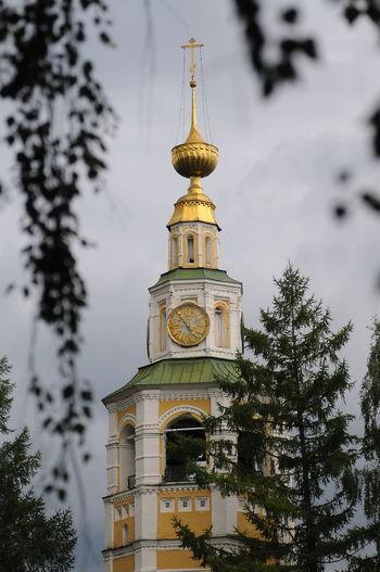 Без пяти пять.. City Tree Clock Face Clock Gold Colored Tower