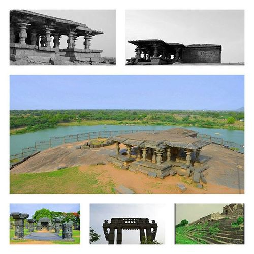Fort WARANGAL _________________________________ వరంగల్ నగరంలోఅందరిని నిలువరించే ఆకర్షణలలో ఒకటి వరంగల్ కోట. దక్షిణ భారత దేశంలో శిల్ప కళకు ఉదాహరణ ఈ కోట. గణపతిదేవుడు 1199 ఏ.డి. లో కోట భవనం నిర్మాణం ఏర్పాటు చేసాడు మరియు 1261 ఏ.డి. లో అతని కుమార్తె రాణి రుద్రమ దేవి దానిని పూర్తి చేసింది. _______________________________________ Warangal Fort, in the present-day Indian state of Telangana, appears to have existed since at least the 12th century. The fort was then the capital of the Kakatiya dynasty. The fort has four ornamental gates which originally formed the gates to the now defunct great Shiva temple which are known as Kakatiya Kala Thoranam or Warangal Gates. The feature of these historical arches has been adopted as the symbol of the Kakatiya dynasty and has been officially incorporated as the Emblem of Telangana for the state of Telangana year 2014 govt of telangana. Ihithro Warangal Orugallu Kakatiya History Culture Stone Instagood Photooftheday
