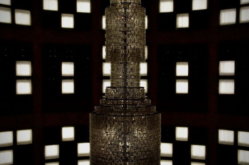 Close-up of illuminated window of building