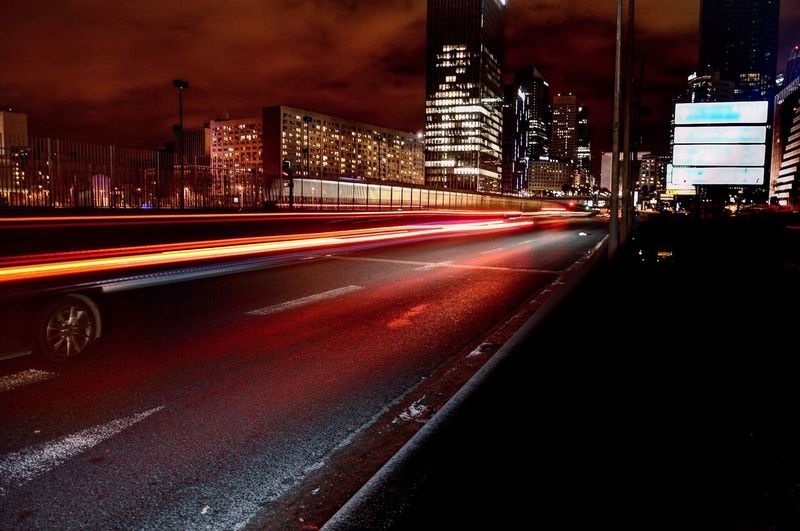 Illuminated Night City Architecture Speed Light Trail Street Transportation Traffic Motion Skyscraper Cityscape City Life The City Light