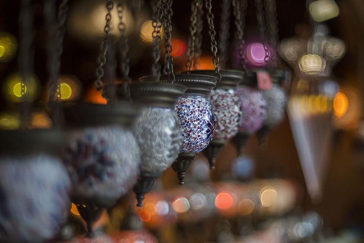 Close-up of hanging lights