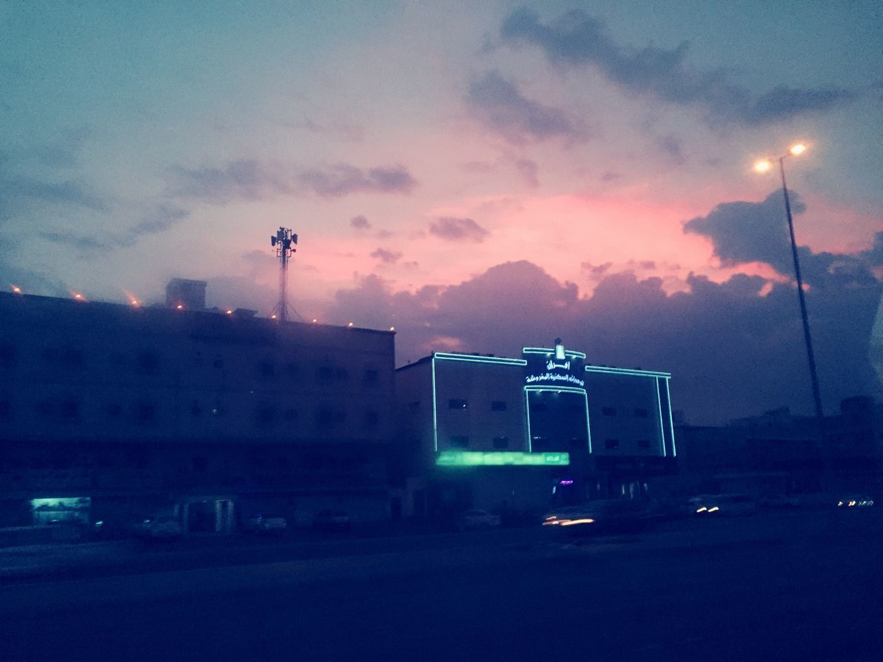 sky, cloud - sky, built structure, architecture, building exterior, illuminated, sunset, dusk, outdoors, no people, night, road, city, nature