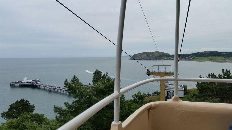 Overhead Cable Car By Sea At Llandudno Pier Against Cloudy Sky