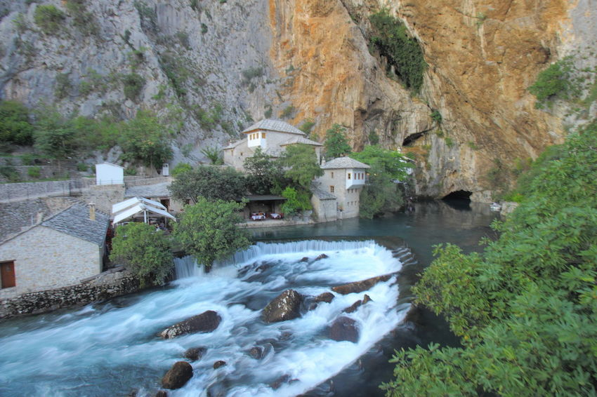 The Buna River Spring emerges from cavern and flows into cascade at Blagaj, Bosnia & Harzegovina Balkan Blagaj Bosnia And Herzegovina Historical Sights Travel Architecture Beauty In Nature Built Structure Buna River Historical Place History Long Exposure Mountain Nature Tourism Travel Destinations Water
