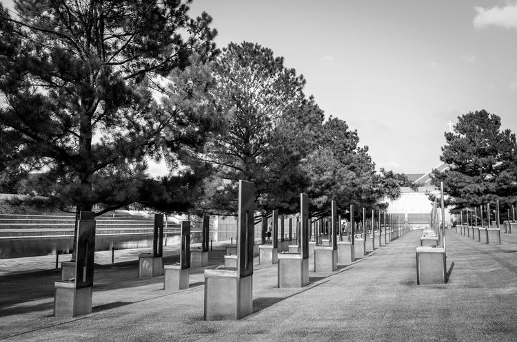 Oklahoma City National Memorial in remembrance of the victims of the 1995 bombing. The Field of Empty Chairs is a tribute to the 168 people who were killed on April 19, 1995. Black And White Black And White Collection  Black And White Photography Day Field Of Empty Chairs Memorial National Memorial Oklahoma City Oklahoma City Bombing Memorial  Oklahoma City National Memorial Outdoors
