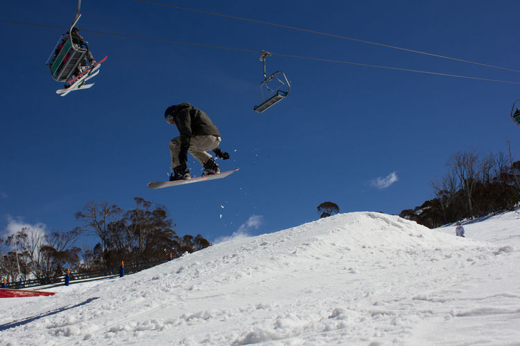 Low angle view of man doing stunt with snowboard in mid-air