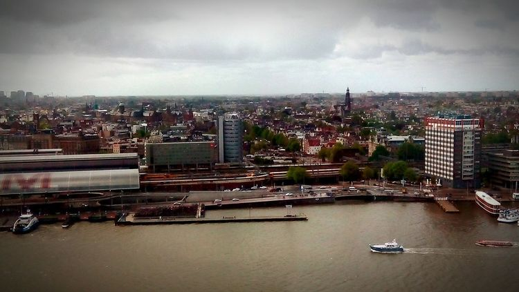 High Angle View Netherlands A'dam Toren Amsterdam Urban Skyline Travel Destinations Sky Cloud - Sky Cityscape The Architect - 2016 EyeEm Awards Architecture City Nautical Vessel Water No People Transportation Day Waterfront River