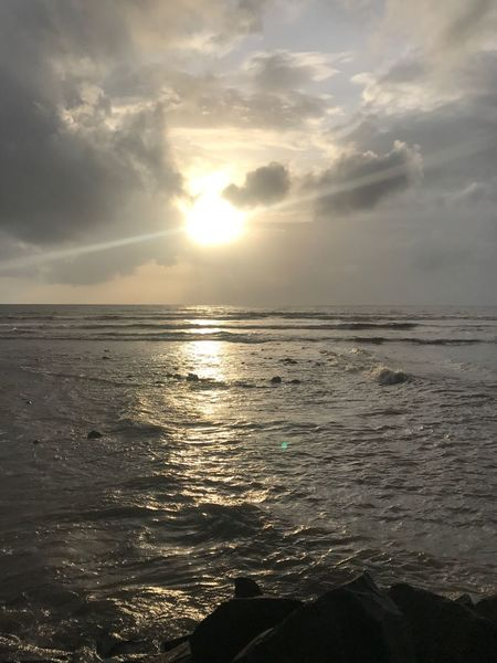Sea Nature Beauty In Nature Tranquility Scenics Water Sunset Tranquil Scene Sun Sunlight Sky No People Idyllic Horizon Over Water Outdoors Beach Cloud - Sky Wave Day