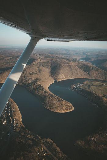 Scenic flight over eifel nationalpark, germany