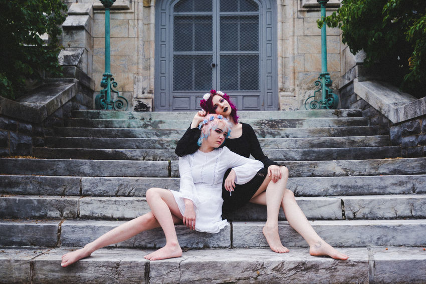 Light And Darkness  Yin & Yang Beautiful Woman Con Connie Good And Evil Kitti Portrait Steps And Staircases Two People