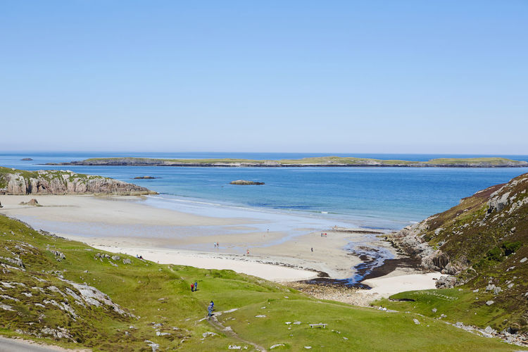 Beach Beauty In Nature Blue Clear Sky Day Durness Grass Horizon Over Water Landscape Nature No People Outdoors Sand Scenics Scotland Sea Sky Tranquil Scene Tranquility Travel Destinations Uk Vacations Water