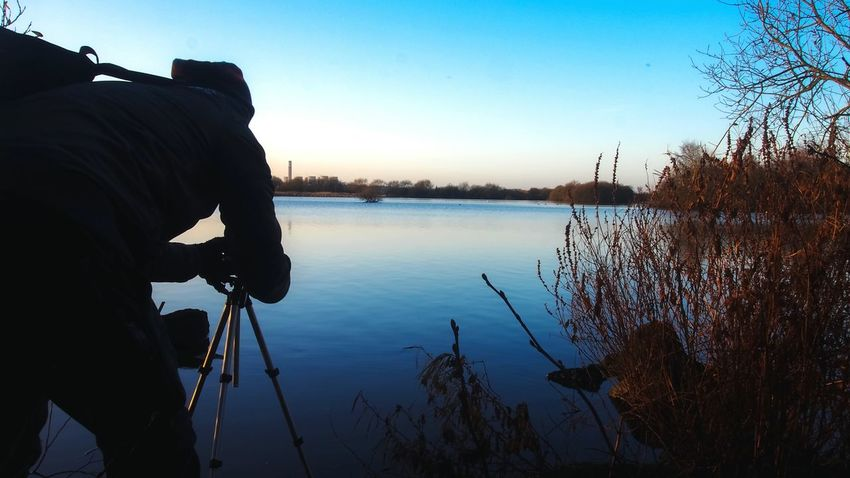 Photographer Reflection Lake Landscape Beauty In Nature Winter Morning Clear Sky Attenborough Nature Reserve Nottingham